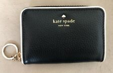 Kate Spade Zip Around Black- White Leather Trim Wallet Key Chain New