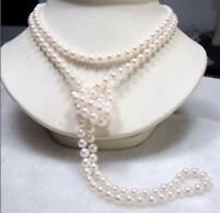 "Genuine Natural White Akoya Cultured Pearl Necklace Hand Knotted Long 65"" 7-8mm"