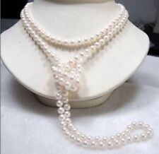 "Long 65"" 7-8mm Genuine Natural White Akoya Cultured Pearl Necklace Hand Knotted"
