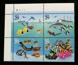 US Plate Blocks Stamps #2863-66 ~ 1994 WONDERS OF THE SEA 29c Plate Block 4 MNH