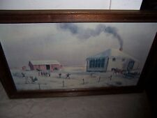 FRAMED ART PRINT PLAYING IN THE SNOW  BY FRACHE DATED 11/69