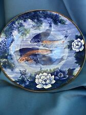 "Sun Ceramics Blue Koi Ceramic Plate 12.5"" As Seen On Seinfeld"