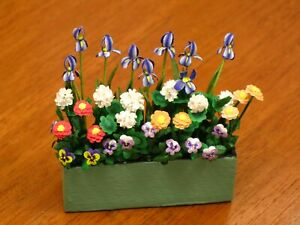 Wooden Box Planter Filled with Colorful Flowers - Artisan Dollhouse Miniature