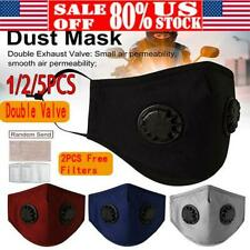 Washable Reusable Face Mask with Double Valves Activate Carbon +2* PM2.5 Filters