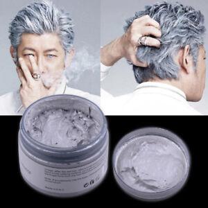 120g Silver Grey Hair Wax Men Women Professional Pomades Mud Gel Cream Temporary
