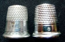 2 Vintage Silvertone THIMBLES With Embossed Decorative Trim-Sizes 7 and 8