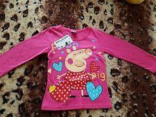 Nuevo Niñas Peppa Pig Camiseta Rosa Edad 2 años