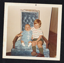 Vintage Photograph Adorable Little Boy Sitting in Chair With Cute Little Baby