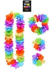 Pride Party Lei Set - Rainbow Lei Hula Headband Bracelets Gay Pride Neon Luau