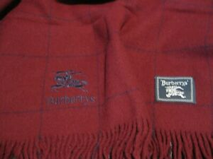 Vintage Burberrys, Extra Large, 100% Wool Shawl, Dark Burgundy/Blue Grid Check
