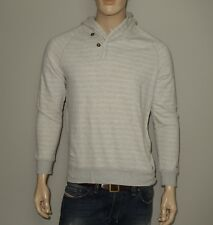 John Varvatos Converse Hooded Striped Sweater in Gray Size Large 100% Cotton