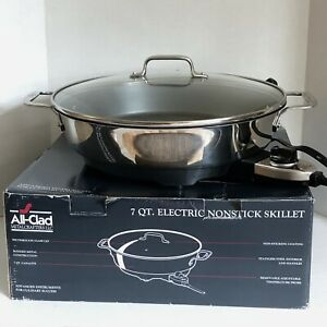All-Clad 7 QT Stainless Steel  Electric Skillet w/ Glass Lid  SK492D50 Pre-Owned