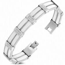 Bracelet for Men Steel and Rubber White