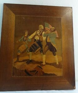 Folk Art Various Woods Inlaid Plaque Polychrome Painted Spirit of the Drummers