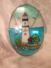 """Stained Glass Sun Catcher Window Decoration White Lighthouse 9"""" X 6"""""""