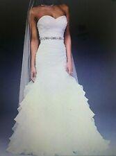 DAVIDS BRIDAL ORGANZA MERMAID CORSET WEDDING DRESS WG3832 IVORY 12 NWT UNALTERED