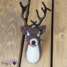 Gisela Graham Eco Wool Stag Head Bells Hanging Christmas Xmas Tree Decoration