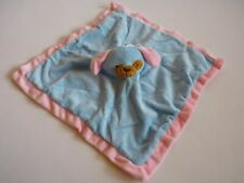 "Plush Puppy Dog Baby Blue/Pink Lovey Security Blanket Plush 14""x14"""