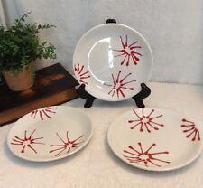 Red White Starburst Design 3 Plates Loucarte Salad/Dessert Polish Dishware