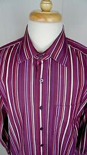 Men's PAUL SMITH Wine/White Striped  Dress Shirt  Sz 16 1/2  /42 Made in Italy