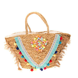 Woven Straw Tote Beach Bag Pom Poms Seashells Beads Fringes Patterned Details