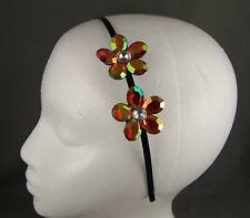 Red Yellw faceted crystal flower thin skinny dressy headband hair band accessory