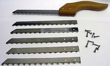 "Set of 5 Fruit Vegetable Bread Knife Blades 7 3/8"" Long Carbon Steel with screws"