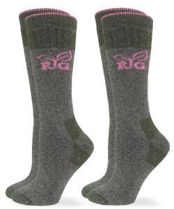 Realtree Womens Merino Wool Cushion Slouch Scrunch Boot Crew Socks 2 Pair