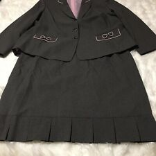 Tahari Suit 22W Gray Pink Pin Stripped Lined Bows Pleated Skirt Hem