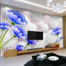 Wall Backdrop Flower Wallpaper 3D Blue Photo Backgrounds Home Commerce Interiors