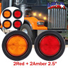 4PCS 2.5inch Round Side Marker LED Lamp Lights for Truck Trailer Red&Amber USA