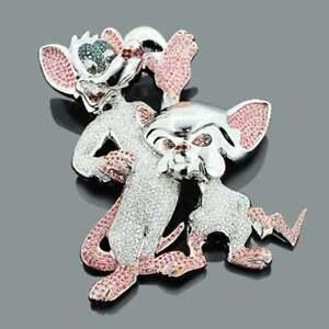 Men's 3 Ct Round Pink & White Sim Diamond Pinky & The Brain Pendant 925 Silver