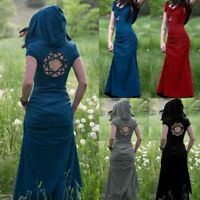 Summer Women Gothic Medieval Vintage Hooded Long Dress Maxi Pixie Fancy Dress
