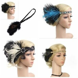 1920s Headpiece Feather Flapper Headband Great Gatsby Headdress Vintage Prom UK
