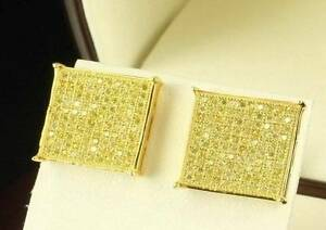 Men's Hip Hop Square Flat Screen 14K Gold Canary Yellow Iced Stud Earrings