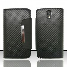 Samsung Galaxy Note 3 Leather Premium Wallet Case Pouch Flip Cover Black Carbon