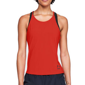 Under Armour UA HeatGear Ladies Orange Perpetual Run Tank Sports Running Vest S