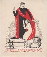 Ex-libris Dr Hollo Andor par Attila Sassy (1880-1967) - Hongrie - (en rouge).