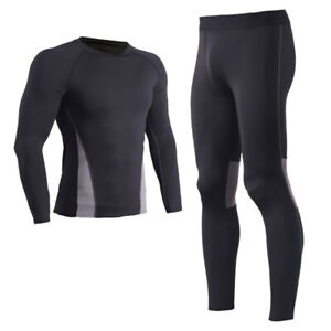 Mens Compression Tracksuit Thermal Base Layer Pants Gym Cool-Dry T-Shirt Sets