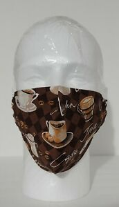 Handmade Coffee Latte Cotton Face Cover Mask w/ Filter Pocket  Adult NEW