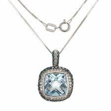 "10k White Gold London Blue Topaz Pendant Necklace 18"""