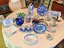 26-pc Set of Blue and White Porcelain and Tin Enamel Home Decor, Old --> Recent