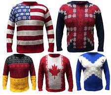 Christmas Xmas Unisex Jumper Sweater Novelty Vinatage Ladies Mens Flag Jumper