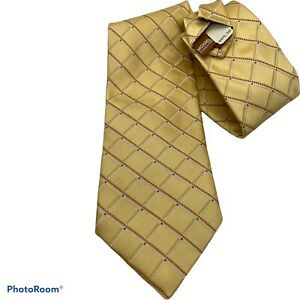 New Michael Kors Tie Traditional Gold Broad Checked Silk 56 x 3.25 Silk USA