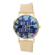 Lux Accessories Gold Tone Peach Navy Floral We All Have Secrets Watch Face Watch