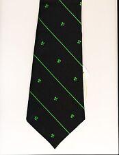 Tie, CTC Navy MADE IN IRELAND Shamrocks Alternating Green Stripes St Patrick's !