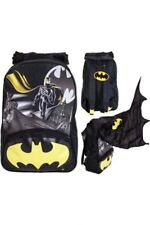 BATMAN BOYS BACKPACK  SCHOOL BAG  DETACHABLE HOOD & CAPE GLOW IN DARK MOTIF 40L