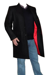 Mens Black Crombie 80% Wool Fitted Over Coat Red Lining Relco Mods Skinheads