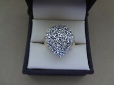 BOLD 14K YELLOW GOLD DOMED 1.00 TCW WIDE DIAMOND PAVE PEAR SHAPE COCKTAIL RING