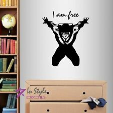 Vinyl Decal I am Free Sky Diver Parachute Jumper Extreme Sports Wall Sticker 206